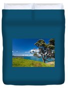 Coastal Farmland Landscape With Pohutukawa Tree Duvet Cover
