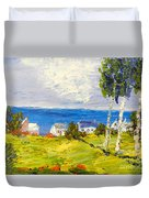 Coastal Fishing Village Duvet Cover