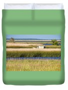 Coastal Marshlands With Old Fishing Boat Duvet Cover by Bill Swindaman