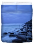 Coastal Rocks In Water At Unstad Beach Duvet Cover