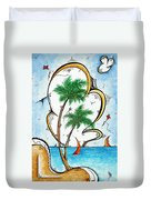 Coastal Tropical Art Contemporary Sailboat Kite Painting Whimsical Design Summer Daze By Madart Duvet Cover