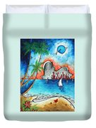 Coastal Tropical Beach Art Contemporary Painting Whimsical Design Tropical Vacation By Madart Duvet Cover