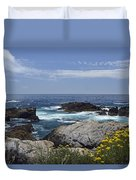 Coastline And Flowers In California's Point Lobos State Natural Reserve Duvet Cover by Bruce Gourley