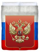 Coat Of Arms And Flag Of Russia Duvet Cover