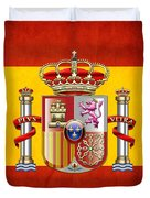 Coat Of Arms And Flag Of Spain Duvet Cover