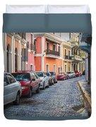 Cobblestone Streets Of San Juan Puerto Rico Duvet Cover