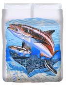 Cobia On Rays Duvet Cover by Carey Chen