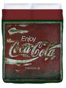 Coca Cola Green Grunge Sign Duvet Cover