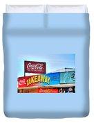 Coca-cola - Old Shop Signage Duvet Cover by Kaye Menner