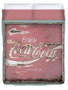 Coca Cola Pastel Grunge Sign Duvet Cover