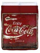 Coca Cola Red Grunge Sign Duvet Cover