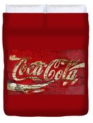 Coca Cola Sign Cracked Paint Duvet Cover