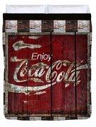 Coca Cola Sign With Little Cokes Border Duvet Cover
