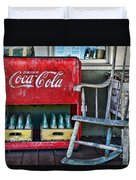 Coca Cola Vintage Cooler And Rocking Chair Duvet Cover