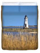 Cockspur Lighthouse In The Sanannah River Duvet Cover