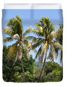 Coconut Palm Trees In Key West Duvet Cover