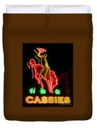 Cody Wyoming Neon Lounge Sign At Night Duvet Cover