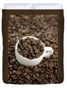 Coffe Beans And Coffee Cup Duvet Cover