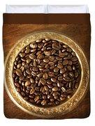 Coffee Beans On Antique Silver Platter Duvet Cover