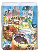 Coffee Break In Grakari In Crete Duvet Cover
