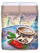 Coffee Break In Spili In Crete Duvet Cover