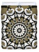 Coffee Flowers 10 Olive Ornate Medallion Duvet Cover