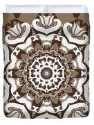 Coffee Flowers 10 Ornate Medallion Duvet Cover by Angelina Vick