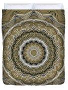 Coffee Flowers 2 Ornate Medallion Olive Duvet Cover