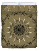 Coffee Flowers 3 Olive Ornate Medallion Duvet Cover