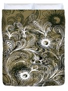 Coffee Flowers 6 Olive Duvet Cover