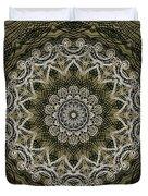 Coffee Flowers 6 Olive Ornate Medallion Duvet Cover