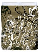 Coffee Flowers 7 Olive Duvet Cover