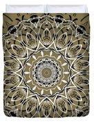 Coffee Flowers 7 Olive Ornate Medallion Duvet Cover