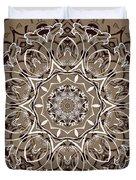 Coffee Flowers 7 Ornate Medallion Duvet Cover