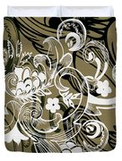 Coffee Flowers 8 Olive Duvet Cover