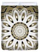 Coffee Flowers 8 Olive Ornate Medallion Duvet Cover