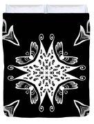 Coffee Flowers 9 Bw Ornate Medallion Duvet Cover