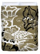 Coffee Flowers 9 Olive Duvet Cover