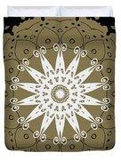 Coffee Flowers 9 Olive Ornate Medallion Duvet Cover