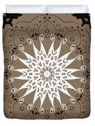 Coffee Flowers 9 Ornate Medallion Duvet Cover