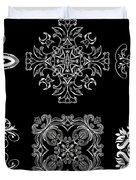 Coffee Flowers Ornate Medallions Bw 6 Peice Collage Duvet Cover