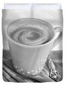 Coffee In Tall Yellow Cup Black And White Duvet Cover