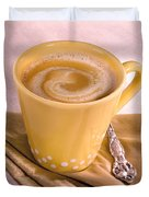 Coffee In Yellow Cup Duvet Cover