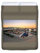 Coffee Shop In Zea Marina Duvet Cover