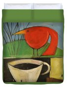 coffee with red bird II Duvet Cover