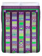 Coin Quilt - Quilt Painting - Purple And Green Patches Duvet Cover