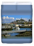 Coit Tower And Marina - San Francisco Duvet Cover