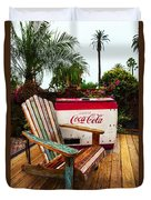Vintage Coke Machine With Adirondack Chair Duvet Cover