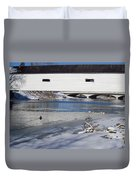 Cold January Morning At The Bridge Duvet Cover