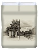 Cold Spring Train Station In Sepia Duvet Cover